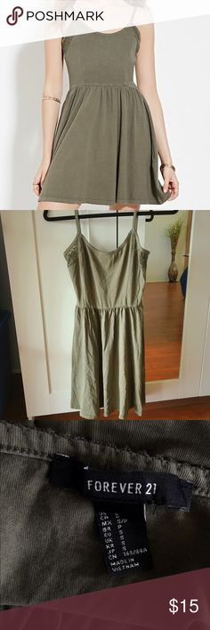 Army green dress Really pretty army green cami dress with lace trimming Forever 21 Dresses Mini