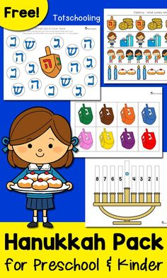 FREE printable pack for prek and kindergarten kids to celebrate Hanukkah or Chanukah! Kids will learn about this holiday tradition with menorahs, dreidels and more! holiday packing kids Hanukkah Pack for Preschool & Kindergarten Hanukkah For Kids, Feliz Hanukkah, Hanukkah Crafts, Jewish Crafts, Free Preschool, Preschool Activities, H Design, Preschool Christmas, Preschool Kindergarten