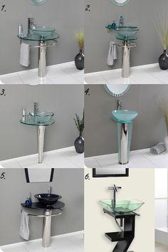 Glass Pedestal Sinks 1. Attrazione 2. Ovale 3. Netto 4. Vitale 5. Scoperto 6. Capistrano.   Visit www.TradewindsImports.com