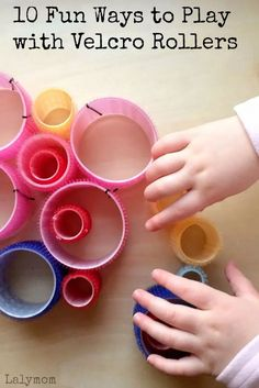 Here are ten fun ways to play with velcro rollers from LalyMom! This kid's idea is a great fine motor activity for kids to learn. Kids will have fun and develop their fine motor skills! Keeping kids busy and learning is not complicated; it is so easy! #finemotor #fun #activities #kids #toddler #preschool #kindergarten