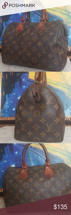 """❤Authentic LV speedy 25❤ This 100% Authentic Louis Vuitton speedy 25 is a timeless and lavish handbag that will never go out of style. Authenticity code: FH0952. Measurements 10""""L x 6""""W x 7""""H (Approx.). It's the classic monogram leather. The handles have a dark patina. She is definitely a pre-loved bag. All flaws are pictured.  Normal wear and damage. She's missing her zipper tag but zipper works great. There are a few ink stains. It could be restored beautifully as it is a vintage bag. More…"""