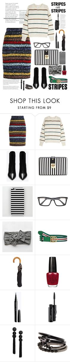 """""""Senza titolo #6956"""" by waikiki24 ❤ liked on Polyvore featuring Alice + Olivia, Étoile Isabel Marant, Yves Saint Laurent, Cazal, Gucci, Paul Smith, MAC Cosmetics, stripesonstripes and PatternChallenge"""
