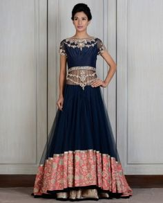 Blue Embroidered Lengha - Manish Malholtra