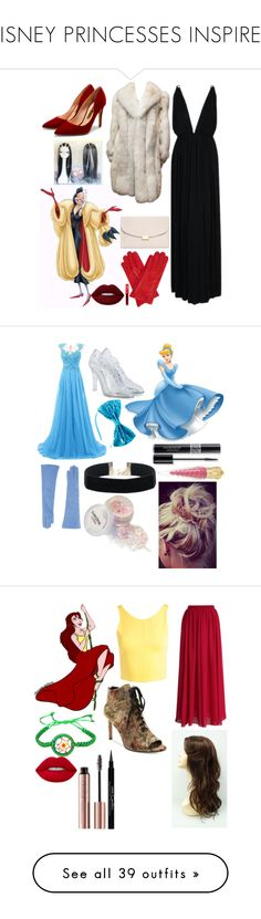 """""""DISNEY PRINCESSES INSPIRED"""" by anamariapesut ❤ liked on Polyvore featuring Yves Saint Laurent, Mansur Gavriel, Gizelle Renee, Rupert Sanderson, Lime Crime, Dolce&Gabbana, KI6? Who Are You?, Christian Dior, Christian Louboutin and Sans Souci"""