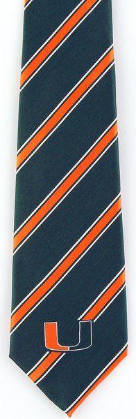 Miami Hurricanes Mens Silk Necktie University College Logo Gift Black Neck Tie