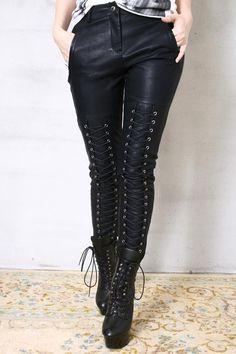 Chic Rock Runway Armor Corset Laceup Vegan Faux Leather Pleather Pants Men Women. $78.00, via Etsy.