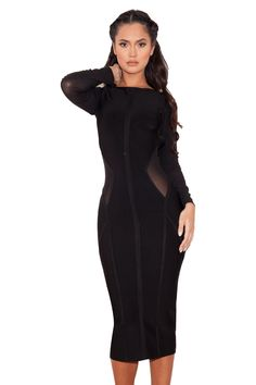 'Nenah' Black Midi Length Bandage and Mesh Dress