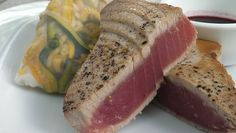 seared tuna and summer rolls and blueberry tamari dipping sauce