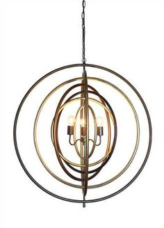 """39""""L x 39""""H Metal Ringed Pendant w/ 3 Lights, Multi Finish (40 Watt Bulb Maximum, UL Listed) This item is available to order! Please contact a Laura of Pembroke sales associate for availability."""