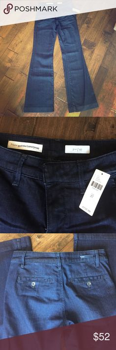 """{Anthropologie} Pilcro denim trousers Sleek, slim dark rinse trouser jeans from Anthropologie. Never worn, only to try on. Need size up. Mid rise, 33"""" inseam. Anthropologie Jeans Flare & Wide Leg"""
