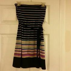 Derek Heart Black and white striped tube dress Good Condition, Black and white striped tube dress with tie belt. MOST REASONABLE OFFERS ACCEPTED! Derek Heart Dresses