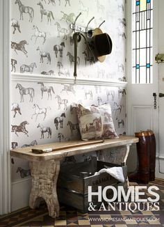Pictorial wallpaper. These depictions of everyday objects bring a sense of fun to a room - mix with similar accessories.