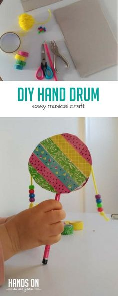 Make a DIY hand drum inspired by a real Rwandan instrument! Practice fine motor skills while you craft and explore rhythm with your new drum later. crafts DIY Hand Drum Craft for Kids Preschool Themes, Craft Activities, Preschool Crafts, Preschool Learning, Learning Music, Projects For Kids, Crafts For Kids, Arts And Crafts, Art Projects