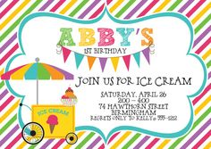 Ice Cream Party Birthday Party Invitations - set of 12