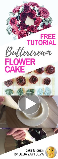 HOT CAKE TRENDS How to make Buttercream Red Roses Flower Wreath cake - Cake decorating tutorial by Olga Zaytseva. Learn how to pipe buttercream roses and create this quick and easy flower wreath cake in red.