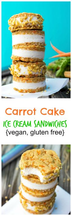 These Carrot Cake Ice Cream Sandwiches are both VEGAN and GLUTEN FREE.