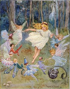 ≍ Nature's Fairy Nymphs ≍ magical elves, sprites, pixies and winged woodland faeries - Margaret Tarrant Art And Illustration, Fairy Dust, Fairy Land, Fairy Tales, Fantasy Kunst, Fantasy Art, Kobold, Fairy Pictures, Vintage Fairies
