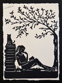 Afternoon Reading in the Park - Hand-Cut Silhouette Papercut tinatarnoff Paper Cutting, Paper Art, Paper Crafts, Art In The Park, Book Sculpture, Scroll Saw Patterns, Silhouette Art, Kirigami, Pyrography
