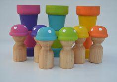 Items similar to Mushroom Babies Bright Rainbow Pretend Play Wooden Sensory Toy on Etsy Montessori Color, Baby Doll Accessories, Sensory Toys, Pretend Play, Baby Dolls, Stuffed Mushrooms, Rainbow, Babies, Bright
