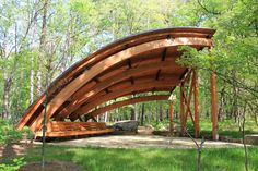 The Museum's Tulip Tree Shelter provides some insight into the design of the roofs of the Great Hall, Eleven and the gallery bridge. Shelter Architecture, Landscape Architecture, Landscape Design, Architecture Design, Architecture Colleges, Garden Structures, Outdoor Structures, Aluminum Pergola, Architecture Sketches