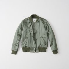 Abercrombie & Fitch Satin Bomber Jacket ($98) ❤ liked on Polyvore featuring outerwear, jackets, green, collar jacket, zipper jacket, bomber style jacket, zip jacket and green jacket