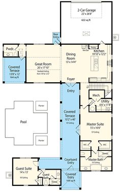 Net Zero Ready Courtyard House Plan   33160ZR | 1st Floor Master Suite,  Beach, Part 92