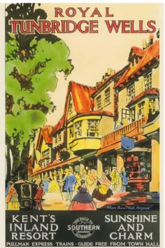 KENT - Royal Tunbridge Wells, Vintage Tourism Poster
