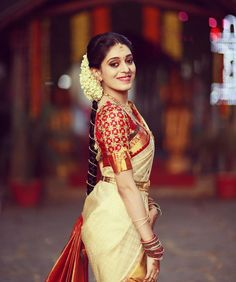 Looking for half saree color combinations ? Check out 21 cool looking half saree designs with trending colors and modern appeal. South Indian Bride Saree, Indian Bridal Sarees, Kerala Bride, Bridal Silk Saree, Hindu Bride, Wedding Sarees, Silk Sarees, South Indian Bride Hairstyle, Kanchipuram Saree Wedding
