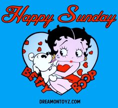 Happy Sunday  ★ More Betty Boop Graphics & Greetings ➡ http://bettybooppicturesarchive.blogspot.com/  ~And on Facebook~ ➡ https://www.facebook.com/bettybooppictures  Pudgy kissing Betty Boop on the cheek
