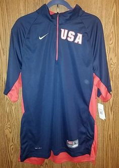 Mens Large Jacket/Pull Over Warm Up 1/4 Zip Sewn USA Nike Dri-Fit Short Sleeve #Nike #JacketPullover