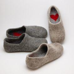 Felted Warmest Love Clogs soft merino wool beige by WoolenClogs, Felt Shoes, Sock Shoes, Wet Felting, Needle Felting, Yarn Crafts, Felt Crafts, Clogs, Felted Slippers, Sheep Wool