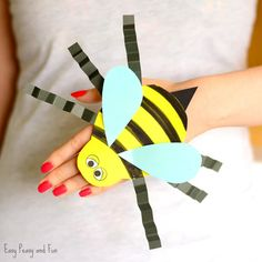 Bee Paper Hand Puppet Template Craft