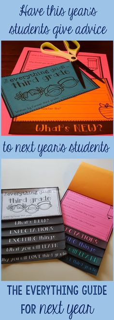 What a great end of the year activity! Upper elementary students write advice to the future students of their grade level, grades 3-5. Outgoing and incoming students love these advice flip books!