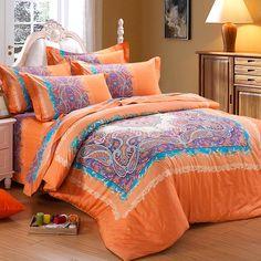 Orange and Purple Bright Colorful Western Paisley Park Pop and Buffalo Plaid Print 100% Cotton Satin Bedding Sets - EnjoyBedding.com
