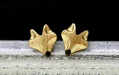 Hand gilded tiny fox stud earrings from Villa Sorgenfrei - unique handmade jewelry with real flowers and more. by DaWanda.com