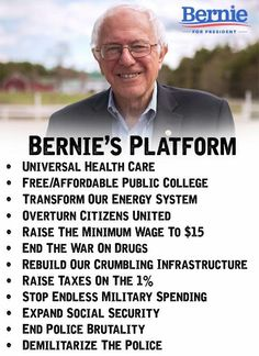 Bernie Sanders. And yes this is all actually paid for by taxes. As a senior member of the senate budget committee Bernie knows how to shift money from the military industrial complex to public goods.