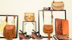 Our Guide to Wearing Spring's Boho Trend for Festival Season: We promise this is not about how 2005 is calling for their peasants, coin belts, and leggings back. -- Brown handbags and black platform sandal.  | Coveteur.com