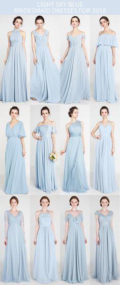light sky blue bridesmaid dresses 2018 #bridalparty #weddingcolors #bridesmaiddress #bluewedding