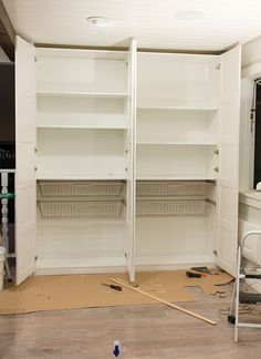 Ikea PAX wardrobe/pantry with Pax shelves and Komplement wire baskets Ikea Hack Kitchen, Laundry Room Diy, Ikea Closet Organizer, Pantry Laundry Room, Ikea, Ikea Kitchen Pantry, Ikea Pax, Ikea Pax Wardrobe, No Pantry Solutions