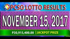 PCSO Lotto Results November 15, 2017 (6/55, 6/45, 4D, SWERTRES & EZ2 LOTTO) Lotto Results, November, Youtube, November Born, Youtubers, Youtube Movies