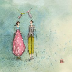 """Gaëlle Boissonnard square card (14 cm) """"Les amoureux et les oiseaux"""""""