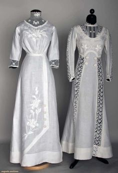 Two White Linen Summer Dresses, C. 1908, Augusta Auctions, November 13, 2013 - NYC, Lot 313