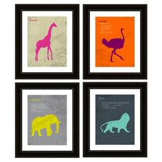 Funky African Animal Prints -- set of 4 #huntersalley