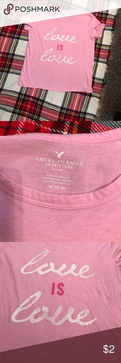"Shirt ""Love IS Love"" pink shirt Tops Tees - Short Sleeve"