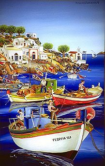 Antonios Santorinios Go Greek, Greek Art, Greece Painting, Mediterranean Art, Beyond The Sea, Greek History, Painter Artist, 10 Picture, Naive Art