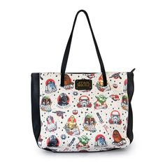 Star Wars Tattoo Art Flash Print Faux Leather Tote Shoulder Bag by Loungefly