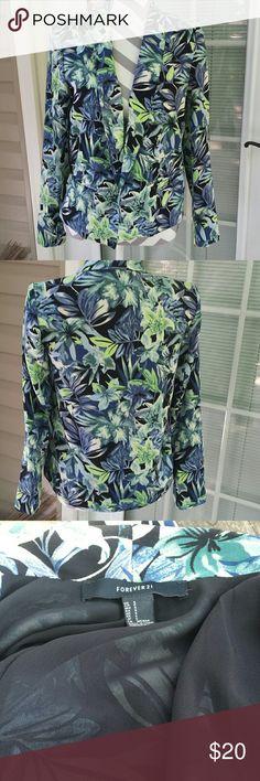Lightweight  floral cotton blazer Lightweight floral cotton blazer. Forever 21. Size small. Green/blue overtones. Forever 21 Jackets & Coats Blazers
