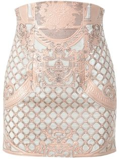 Balmain   White Velvet and Leather Miniskirt   White velvet miniskirt with a baroque blush coloured embroidered leather from Balmain. High-waisted