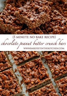"""Chocolate + Peanut Butter + plenty of crunch = pure happiness in a homemade """"candy bar"""" that you make in about 5 minutes! I've made countless versions of no-bake bars over the years, but it always comes..."""