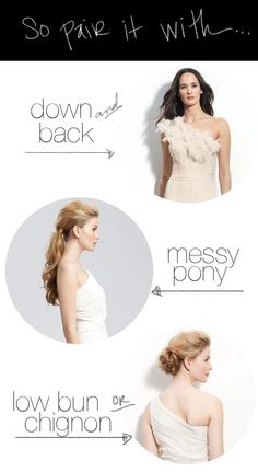 hair ideas for a one shoulder dress